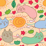Cat bath sun cute seamless pattern. This illustration is drawing abstract cat bath with sun, smell and cute in seamless pattern stock illustration