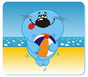 Cat on the beach. Vector illustration of cat with the ball on the beach Royalty Free Stock Photos