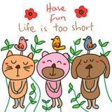 Cat bear dog bird card template Stock Images
