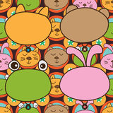 Cat bear forg rabbit head seamless pattern Royalty Free Stock Images