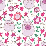 Cat bear meow seamless pattern. This illustration is abstract cat bear play with smile flower, unknown rain or tear drop, if lucky stars and loves around the Royalty Free Stock Photo