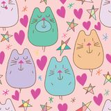 Cat bear star love seamless pattern. This illustration is design and drawing cat bear simply love star naive in pink color background Royalty Free Stock Images