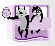 Cat in bed. With clock Stock Images