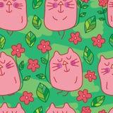 Cat behind flower seamless pattern Stock Photos