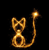 The cat from bengal fires. Abstract the image of an animal sparks of fire Stock Photo