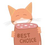 Cat and best choice sausage Royalty Free Stock Image