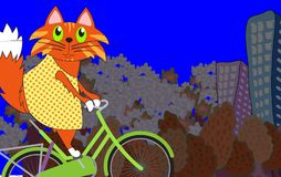 Cat on a bicycle, vector illustration. Ginger kitty. On a green bicycle. Cartoon spring illustration Stock Images
