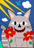 Cat with big smile. And two flowers Royalty Free Stock Image