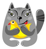 Cat with bird Royalty Free Stock Photography