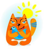 Cat with bird Royalty Free Stock Images