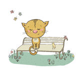 Cat and bird on a bench surrounded by flowers and butterflies. Cute cat. Hand drawn Stock Images