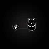 Cat and bird on the black background. vector Royalty Free Stock Images
