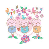 Cat bird butterfly card. This illustration is design cat, bird and butterfly in pastel color background Royalty Free Stock Image