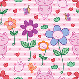Cat bird butterfly flower happy seamless pattern. This illustration is design and drawing cat, bird, butterfly with happy flower in pink color stripes and love Royalty Free Stock Photos