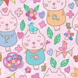Cat bird butterfly pastel seamless pattern. This illustration is drawing cat, bird and butterfly decoration with love, flower and leaf in pink color background Stock Image