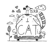 Cat and bird cute friends skateboarding outline hand drawn characters Royalty Free Stock Photo