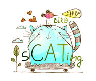 Cat and bird friends skateboarding watercolor hand drawn characters Stock Image