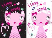 Cat Bird Kids Sweet Clothing Imágenes de archivo libres de regalías