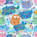 Cat and bird music note blue glitter seamless pattern. This illustration is design and drawing cat and bird with music note, rainbow line and decoration in blue vector illustration