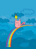 Cat Bird Play Rainbow Image stock