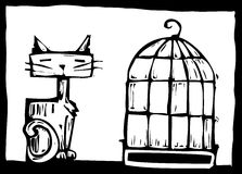 Cat and Birdcage Stock Images