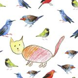 Cat and birds. Seamless watercolor pattern. Art, watercolour illustration Stock Photos