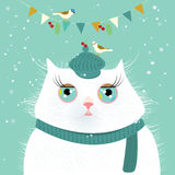Cat with birds vector illustration Royalty Free Stock Photos