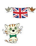 Cat and birds woth flag. A smiling cat and birds with flag of England Royalty Free Stock Photography