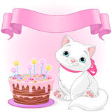 Cat Birthday Celebrating Image stock