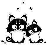 Cat black. Black and white illustration silhouette cute cats Royalty Free Stock Photography