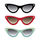 Cat black, red and blue eyeglasses vector illustra Stock Photos