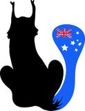 Cat  black with the tail in form flag Australia Royalty Free Stock Images