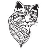 Cat Black and white doodle print with ethnic patterns. Stock Photos