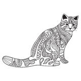 Cat Black and white doodle print with ethnic patterns. Royalty Free Stock Photography