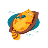 Cat on a Boat Hugging Fish. Vector Illustration Stock Photo