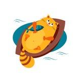 Cat on a Boat Hugging Fish. Vector Illustration Stock Photo