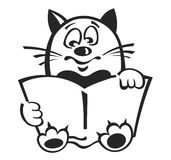 Cat with the book. Lovely cat with the book. The children's character. It can be used in animation royalty free illustration