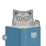 Cat_with_book. Illustration of smart cute cat with glasses reading the book. Vector image, easy editable Stock Image