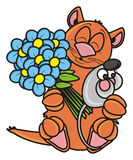 Cat with a bouquet and a mouse Royalty Free Stock Images