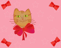 Cat with bow funny card Royalty Free Stock Photos
