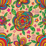 Cat box flower colorful seamless pattern Royalty Free Stock Photos