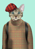 Cat boy dressed up in urban style. Royalty Free Stock Photo