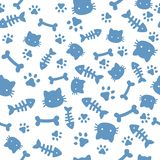 Cat boy pattern. Blue paw animal footprints and bones. Cat dog paws wallpaper, cute puppy pet cartoon vector seamless royalty free illustration