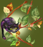 Cat on a branch. The cat is sitting on a branch, watching vector illustration