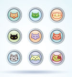 Cat breed collection icons - vector illustration Stock Photo