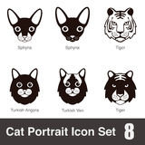 Cat breed face cartoon flat icon series Royalty Free Stock Photography
