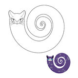 Cat breeds cat snake coloring book. Fabulous pet cat with head and body of snake. Stock Photos