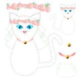 Cat Bride branca com olhos azuis, coroa Rose Flower cor-de-rosa, colar dourado da bola Dia do Valentim Ilustração do vetor Imagens de Stock Royalty Free