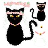 Cat Bride nera con gli occhi gialli, incorona Rose Flower rosa, collare dorato della palla Giorno del biglietto di S Illustrazion Immagine Stock
