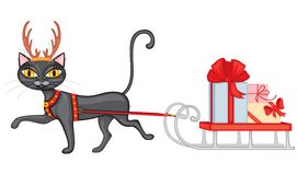 Cat brings gifts on sledge Royalty Free Stock Photo